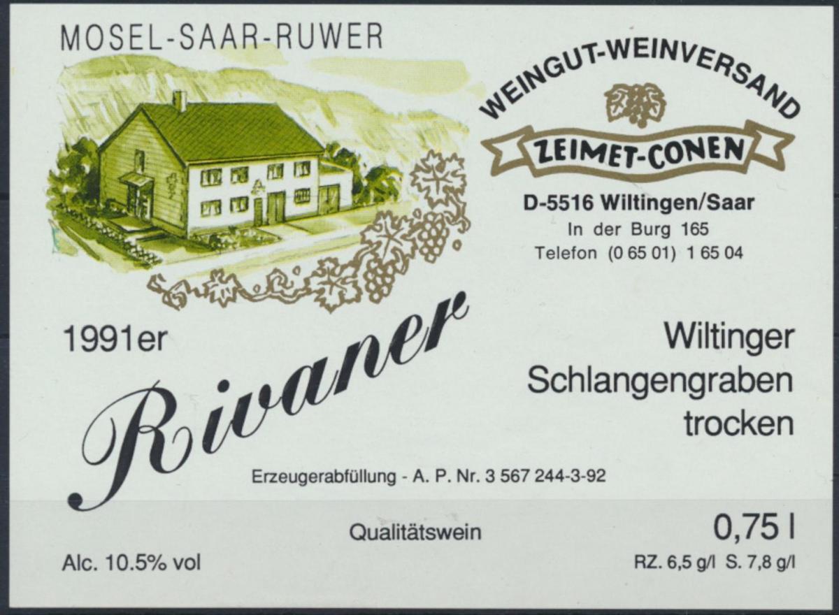Weinettikett Weingut Zeimet - Conen Wiltingen Saar 1991er ungebraucht 0