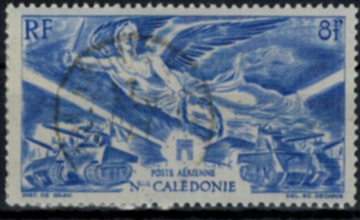 Neukaledonien Flugpostmarke 319 Jahrestag des Alliierten Sieges 1946 gestempelt