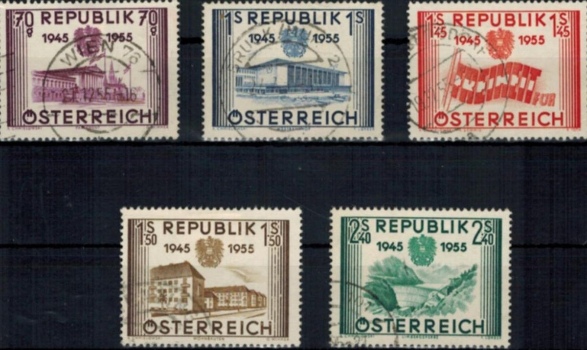 Österreich 1012-1016 gestempelt Unabhängikeit 1955 komplett 0