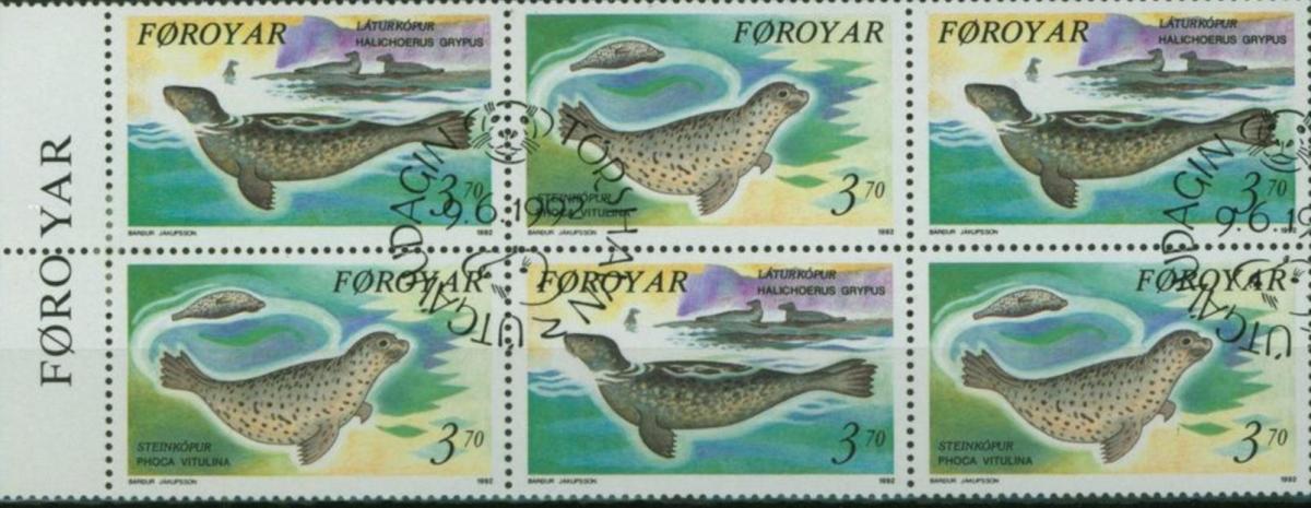 Färoer Heftchenblatt 5 aus Markenheftchen Seehunde 1992 gestempelt