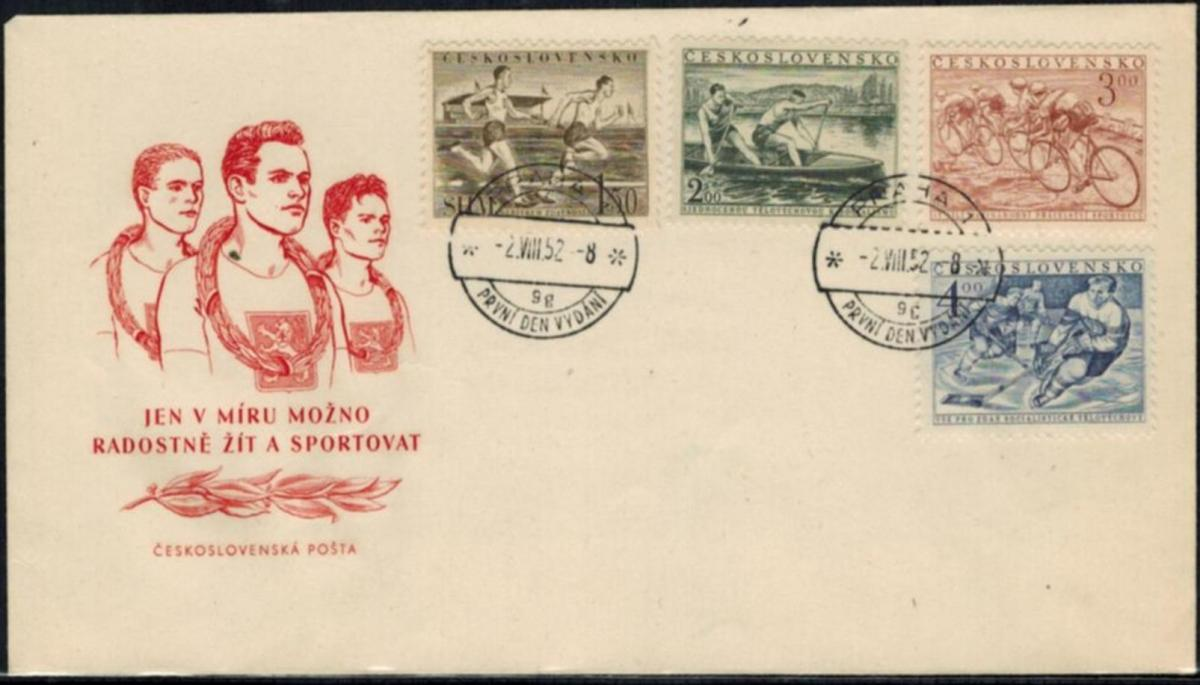 Tschechoslowakei Sport 1952 illustrierter Sonderumschlag