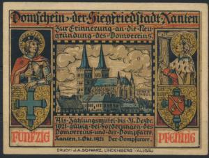 Notgeldschein Stadt Xanten Dompfarre Sachsenkampf Grabowski 1464.1