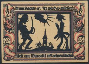 Notgeldschein Stadt Glauchau 1/2 Mark Bebelserie Grabowski 436.3