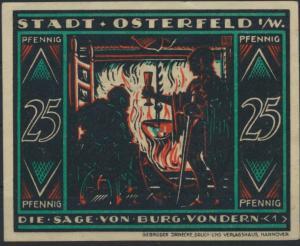 Notgeldschein Stadt Osterfeld 25 Pfennig Burg Vondern Grabowski 1033.2 Bild 1