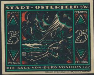 Notgeldschein Stadt Osterfeld 25 Pfennig Burg Vondern Grabowski 1033.2 Bild 2