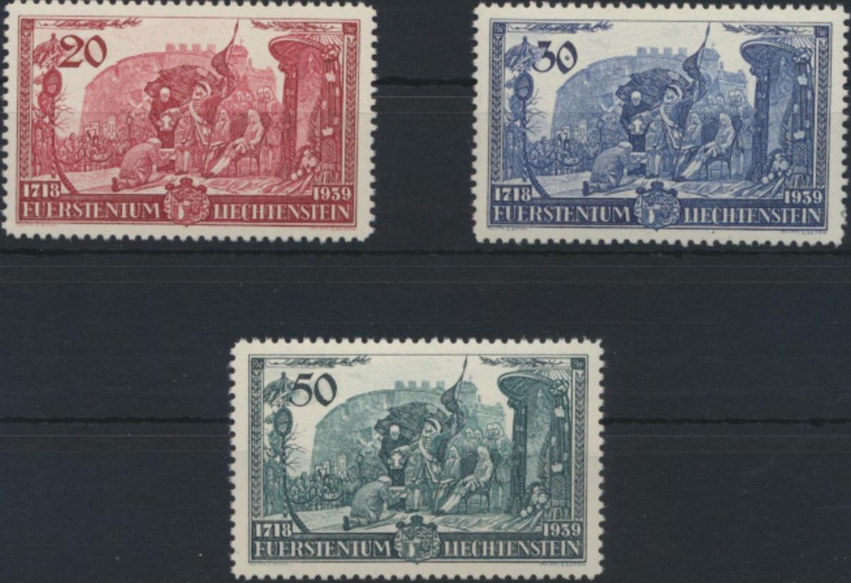 Liechtenstein 180-182 Huldigung Fürst Franz Josef II. tadellos postfrisch MNH 0