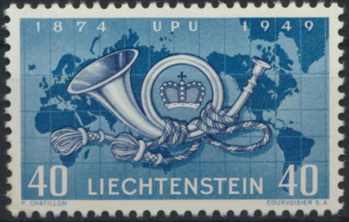 Liechtenstein 277 UPU Weltpostverein Posthorn Weltkarte Landkarte tadellos 0