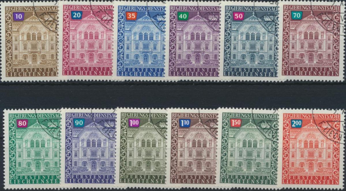 Liechtenstein Dienst 57-68 Regierungsgebäude Ausgabe 1976 tadellos gestempelt