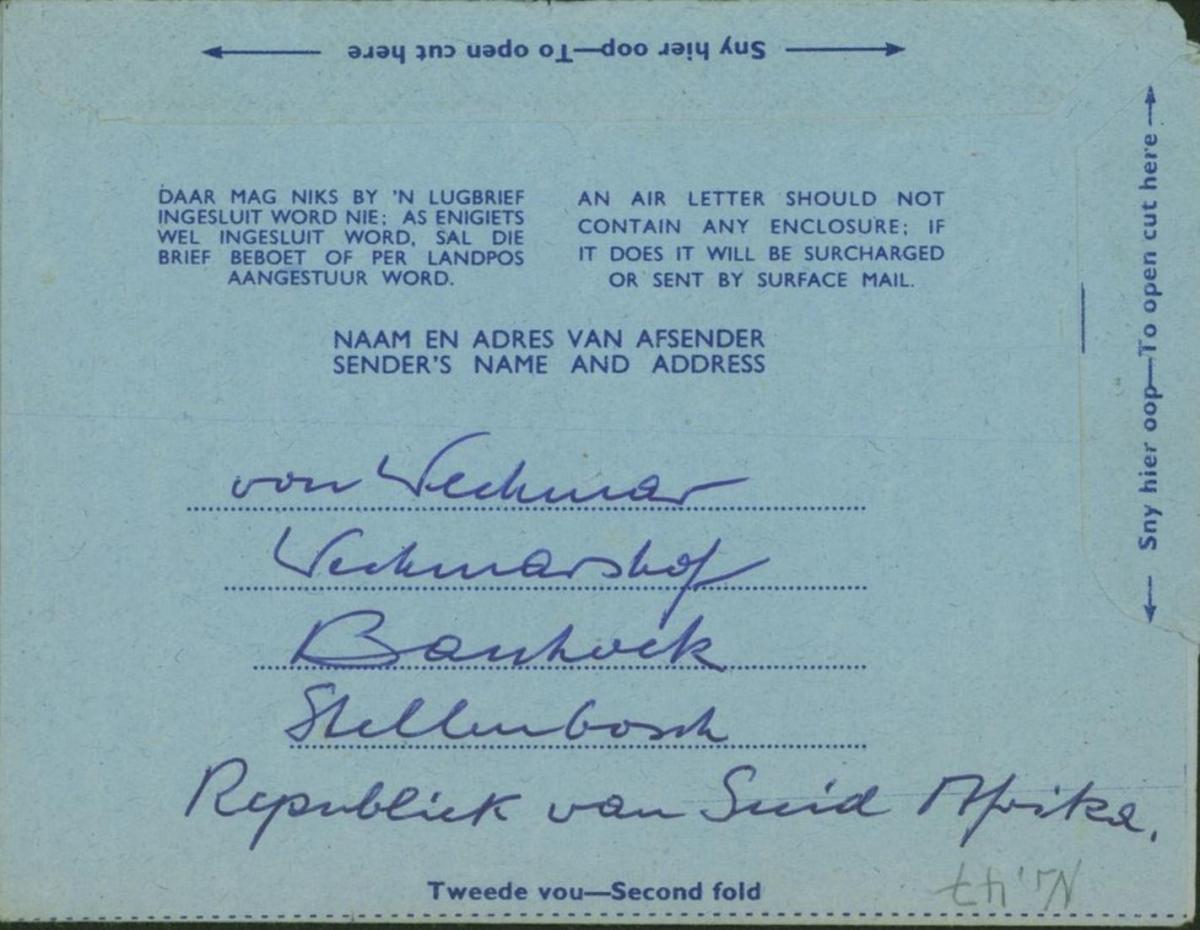 Südafrika Ganzsache Aerogramm 5c Flugpost Banghoek - Niesky Oberlausitz 1