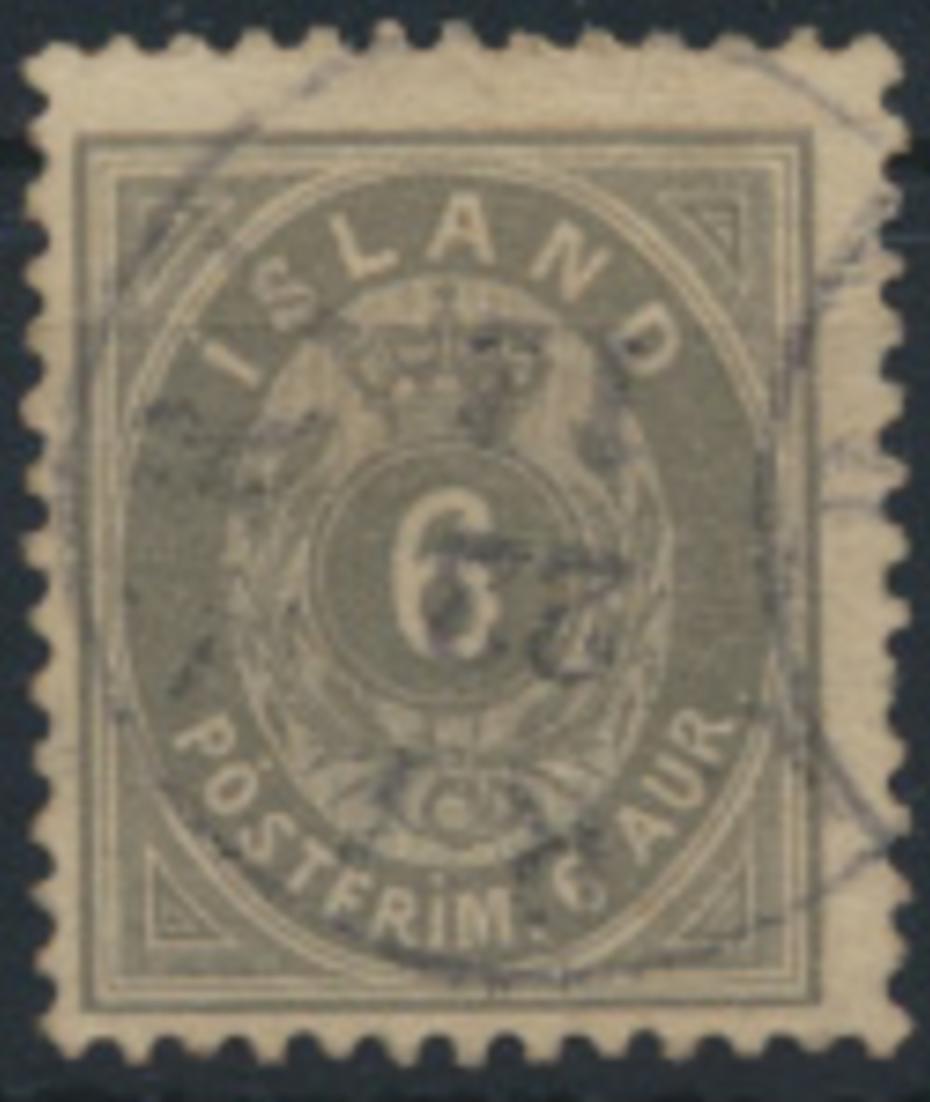 Island 7 B gestempelt - 6 Aurar Freimarke Ziffern mit Krone im Oval 1876 0