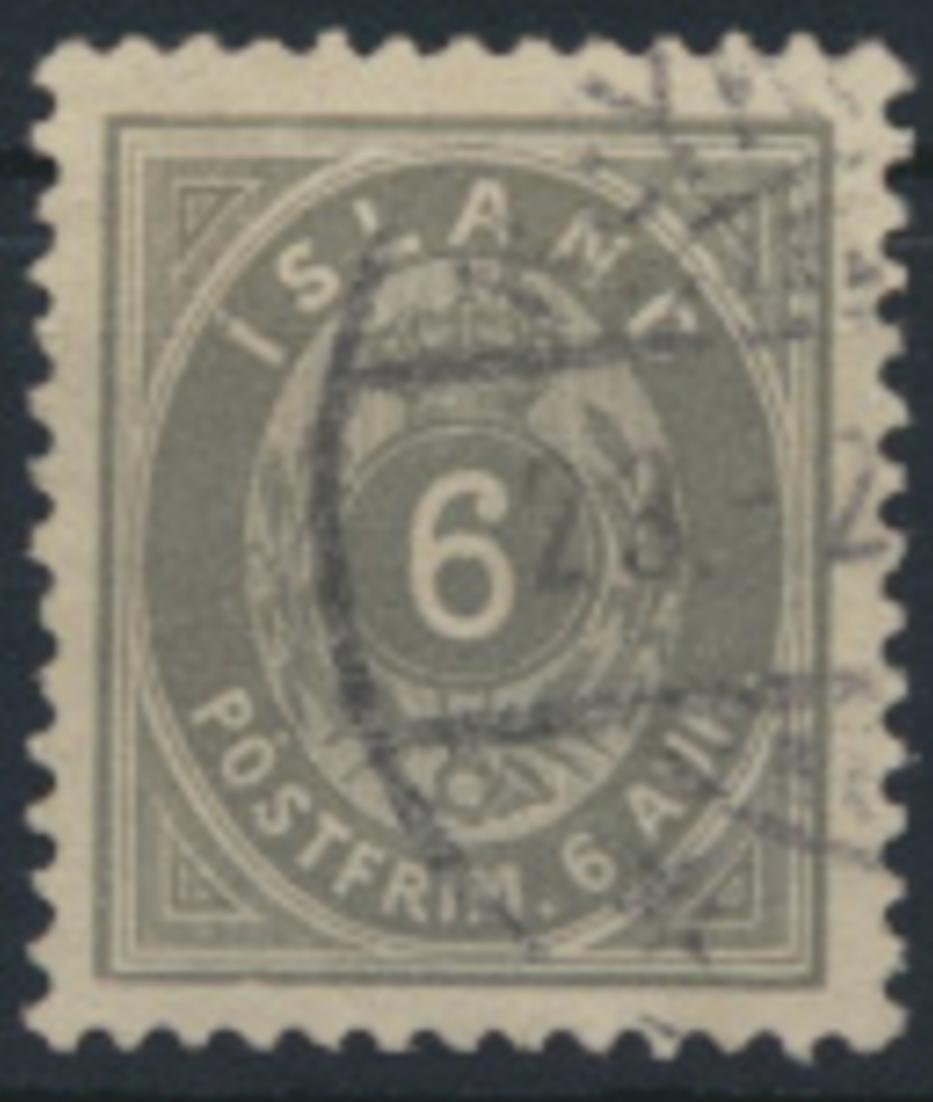 Island 7 B gestempelt - 6 Aurar Freimarke Ziffern mit Krone 1876 0