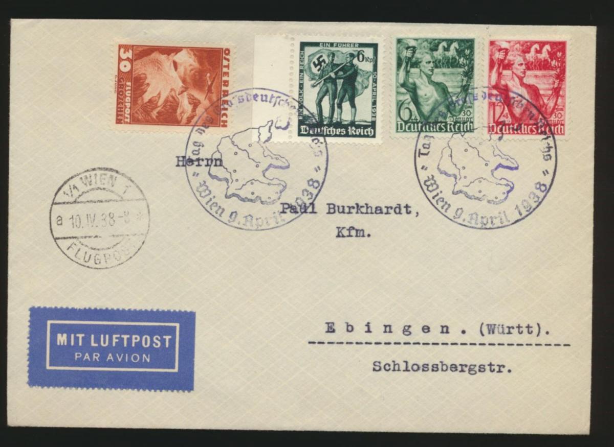 Flugpost Reich Brief Österreich Ostmark 2Länder Frankatur Propagandastempel Wien