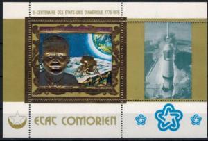 Komoren zwei Blöcke 1500 F. 200 Jahre USA, Kennedy, Mond Prägedruck Gold