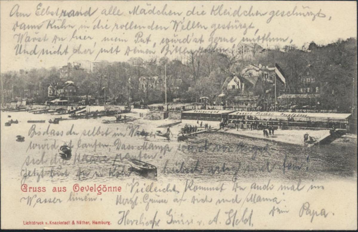 Ansichtskarte Oevelgönne bei Othmarschen Hamburg nach Köln 1902