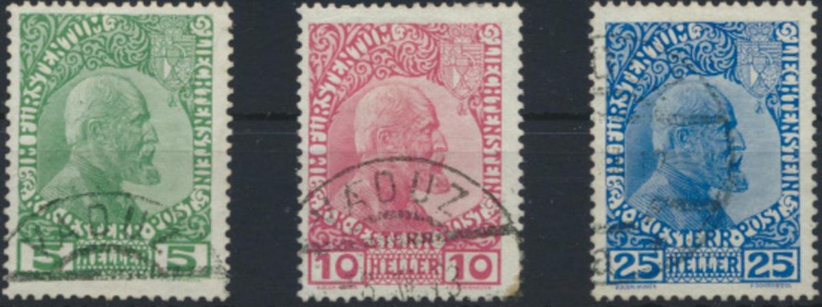 Liechtenstein 1-3 x gestempelt - Freimarken 1912: Fürst Johann II.