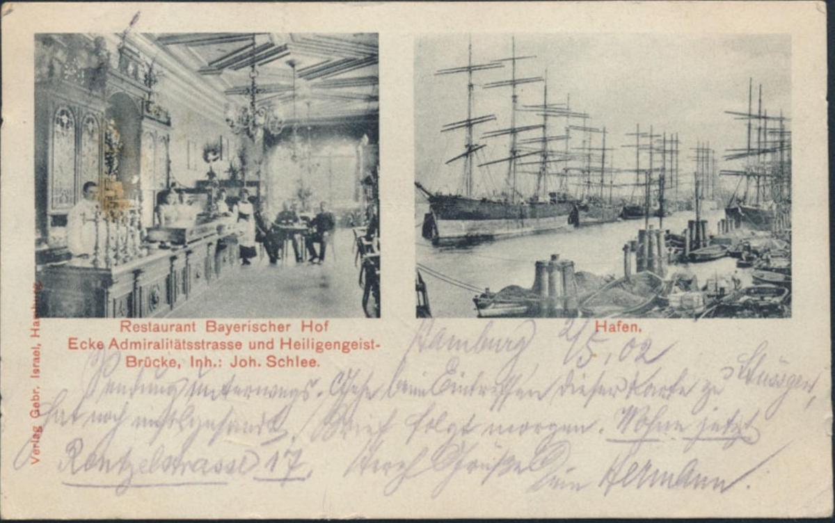 Ansichtskarte Hamburg Restaurant Bayerischer Hof Admirlitätsstr. Heiligengeist -