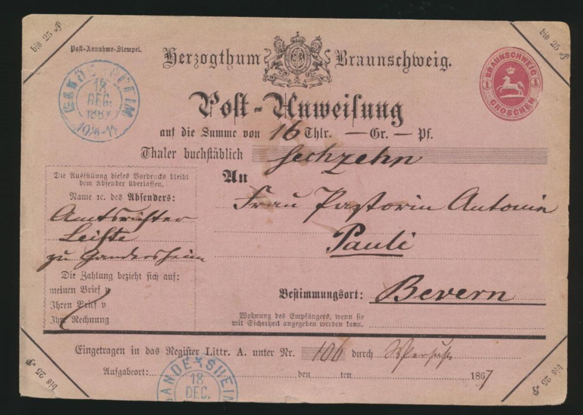 Altdeutschland Braunschweig Postanweisung Groschen Bremen Abklatsch Wertstempel