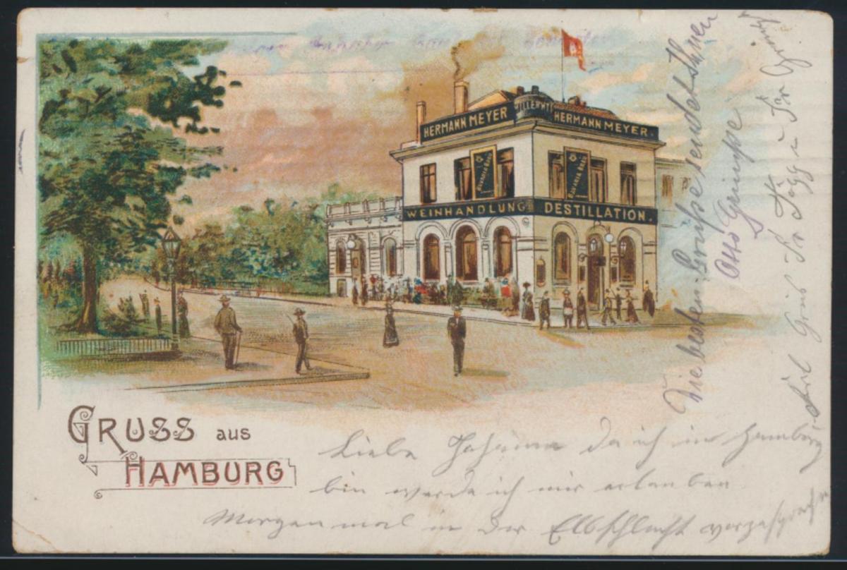 Ansichtskarte Hamburg Litho Hermann Meyer Weinhandlung Destillation Elbschlucht