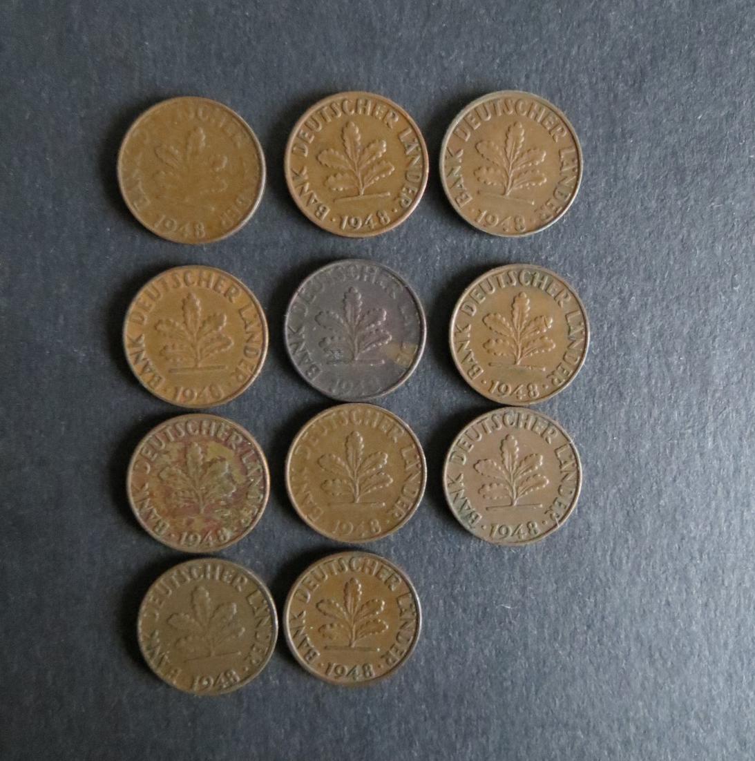 Münzsammlung Bank deutscher Länder 1 Pfennig 1948 s-ss 11 Stück