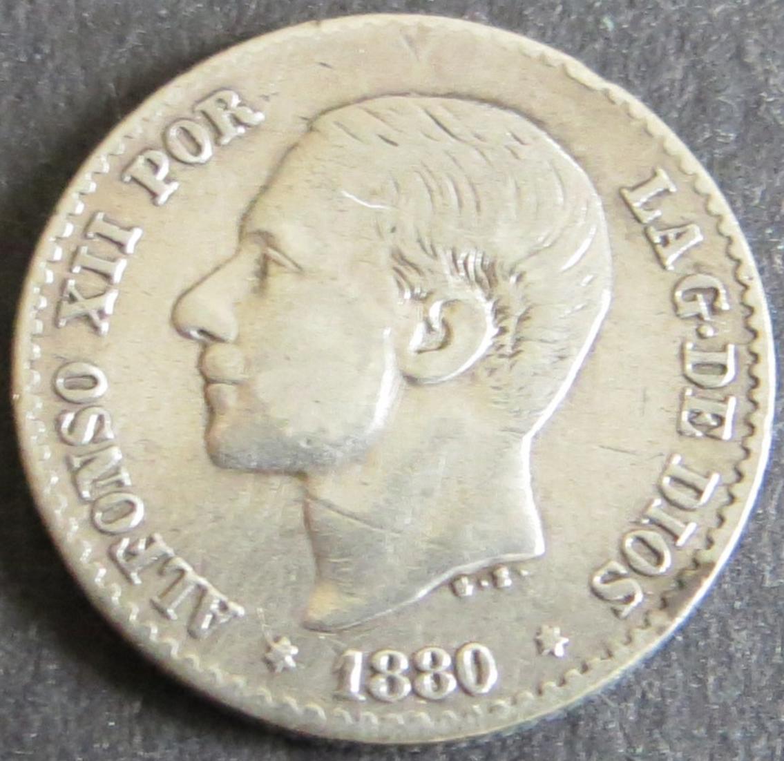 Münze Spanien Alfonso XII 50 Centimos 1880 vzgl. Schön: 163