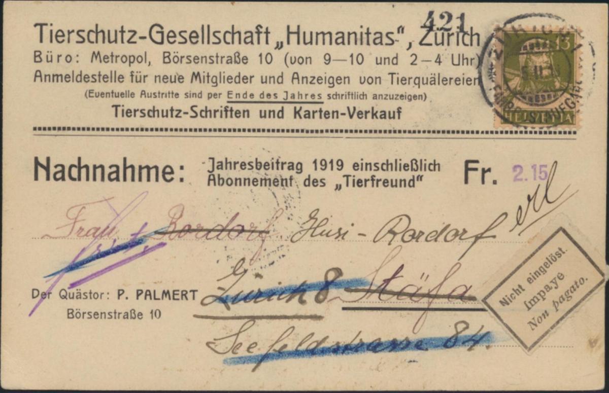 Postsache Schweiz Nachnahme EF 139x Tierschutz Humanitas Zettel nicht eingelöst