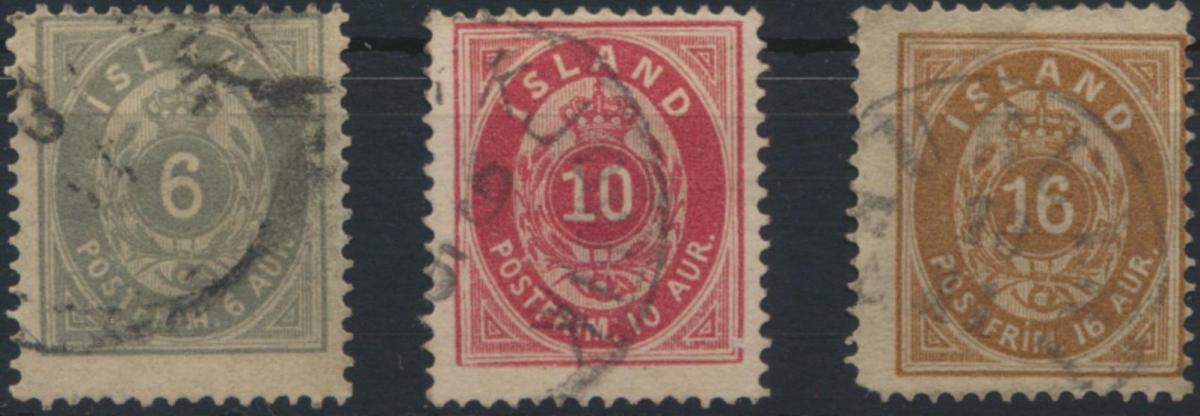 Island 7-9 A Krone 6 - 16 Aurar gstempelt