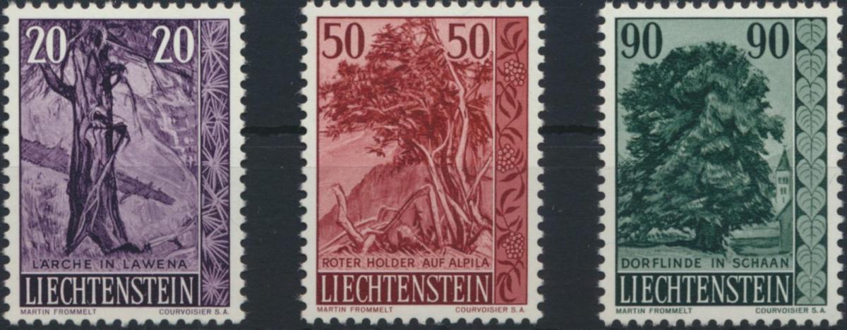 Liechtenstein 377-379 Bäume Sträucher Ausgabe 1959 tadellos postfrisch