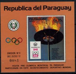 Paraguay Olympia Sport Block Sommerspiele Montreal Olympische Flamme postfrisch