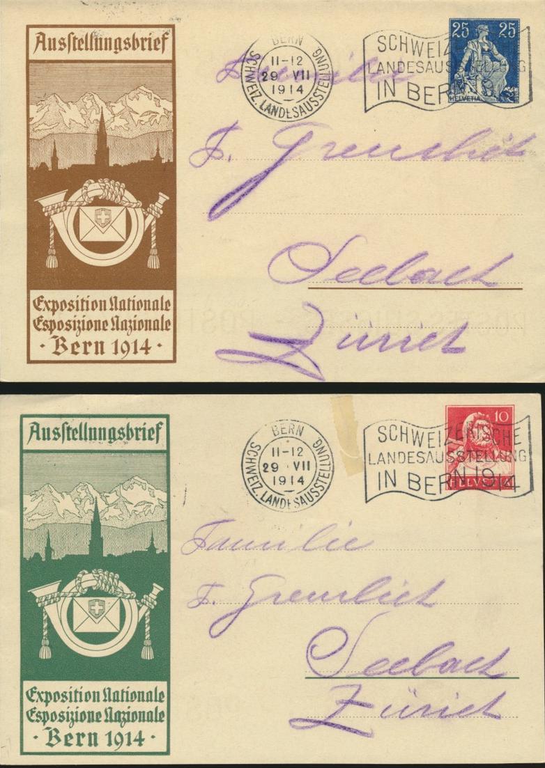 Schweiz Ganzsache F 3 und F4 je mit Stempel Ausstellung Bern n. Seebach 1914