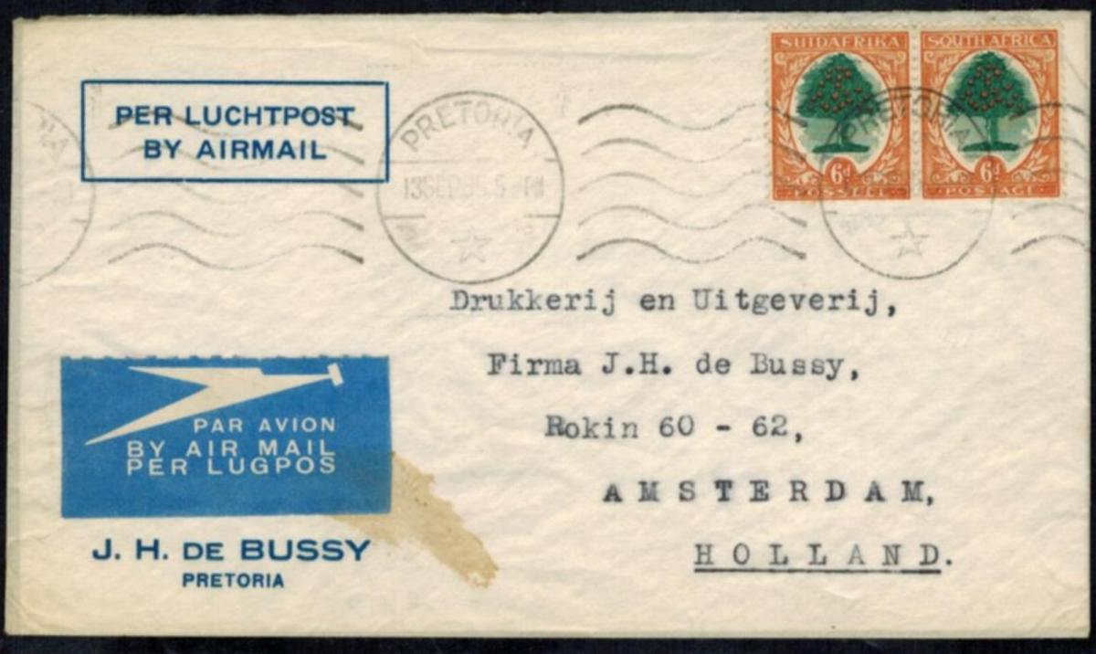 Südafrika 59-60 Auslandsbrief Paar MEF 6d. Pretoria - Amsterdam Niederlande.