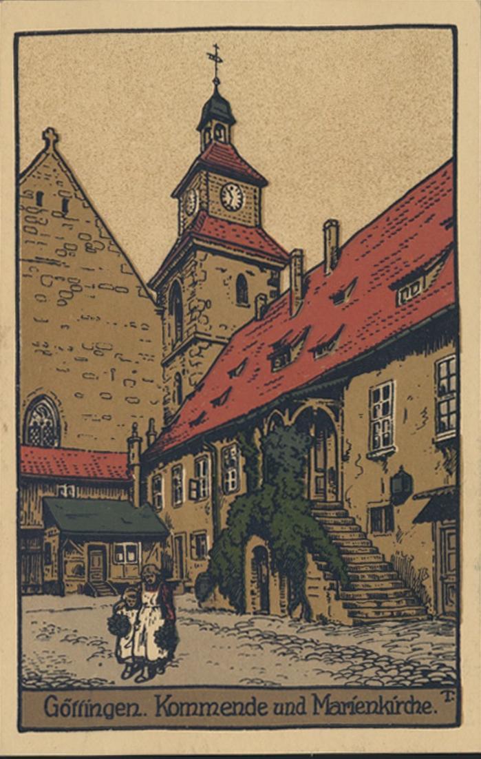 Steindruck Ansichtskarte Göttingen Kommende und Marienkirche Künstler Zeichnung