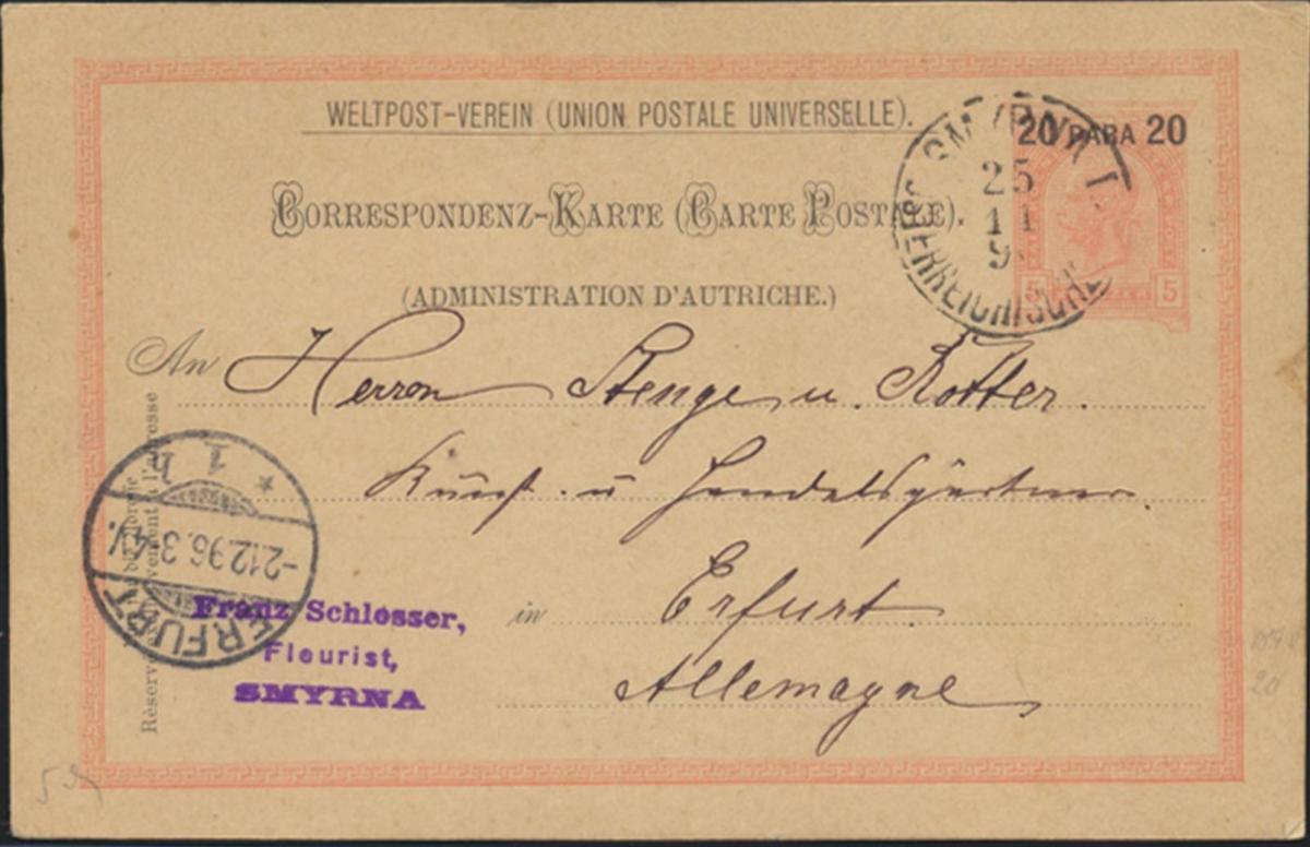 Österreich Levante Ganzsache P 10 a  ab Smyrna Izmir nach Erfurt am 25.11.1896