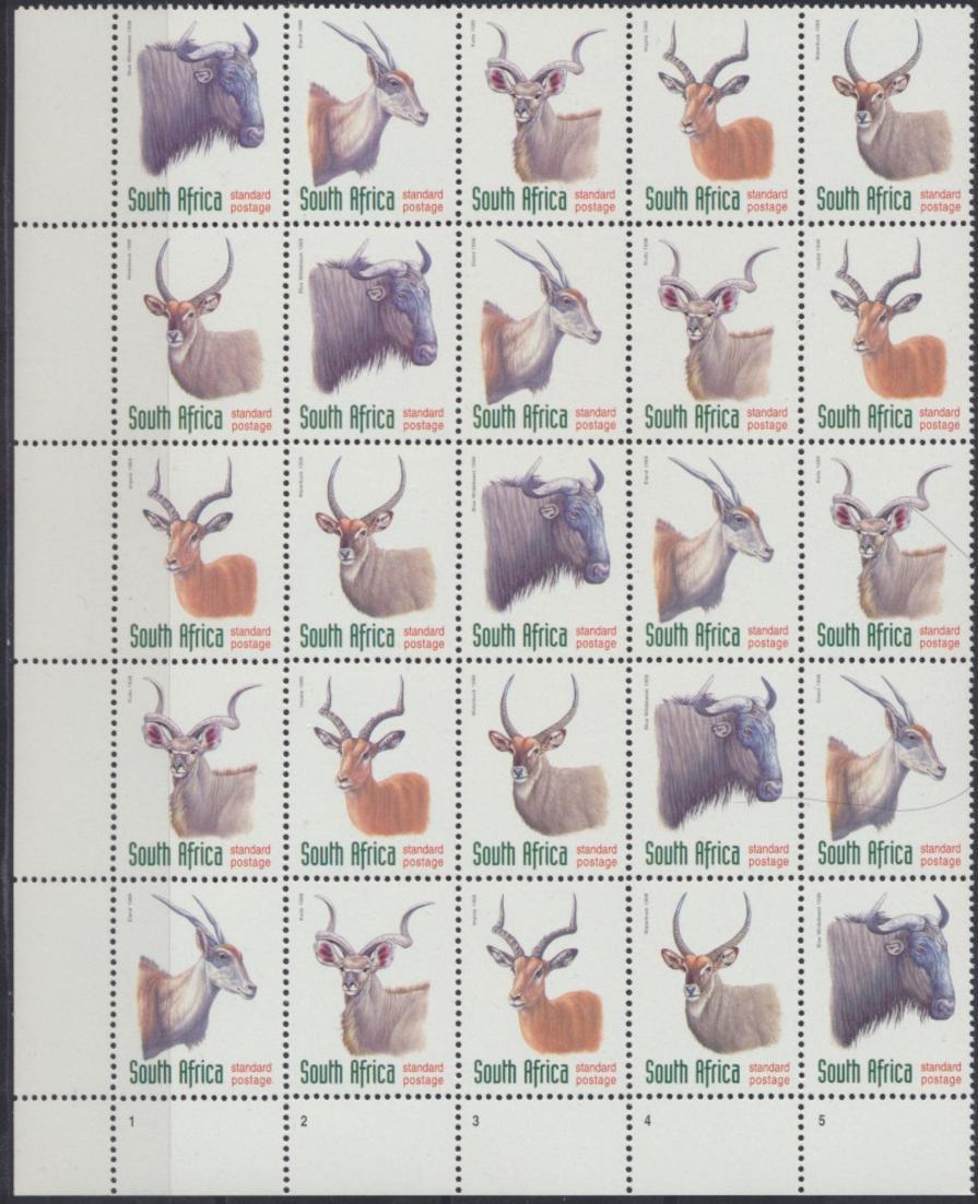 Südafrika 1124-1128 Tiere sehr selt. Kontrollblock von 25 Mk. Versuchsdruck in