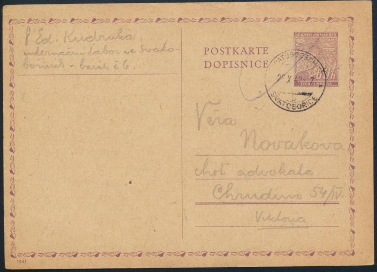 B. & Mähren Ganzsache P9 02 KZ-Post Internierugslager Swatoborschitz Svatobořice