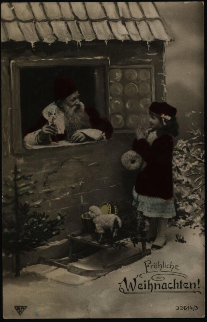 Anischtskarte Nikolaus Weihnachtsmann Spielzeug Weihnachten roter Mantel  Wedel