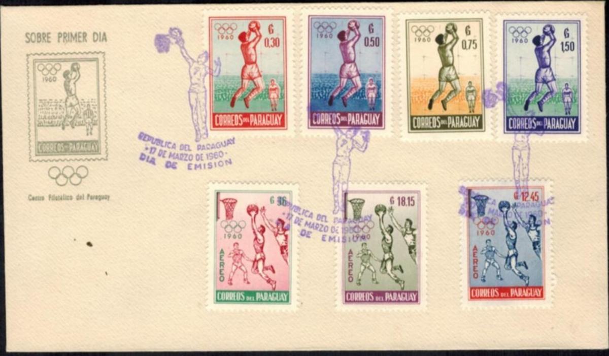 Paraguay 834-840 Sport 1960 dekorativer Sonderumschlag mit Sonderstempeln