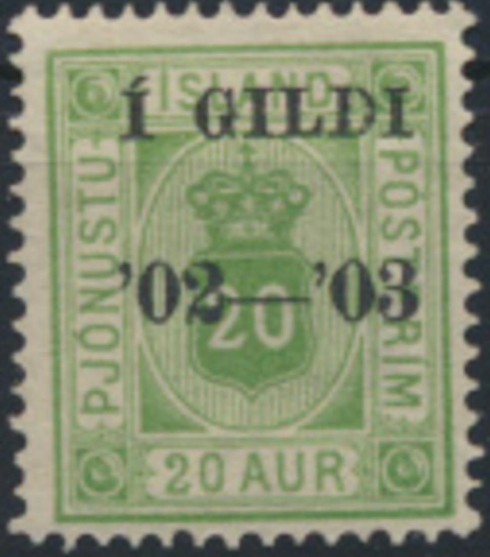 Island D 15 A ungebraucht  20 A grün Dienstmarke Aufdruck
