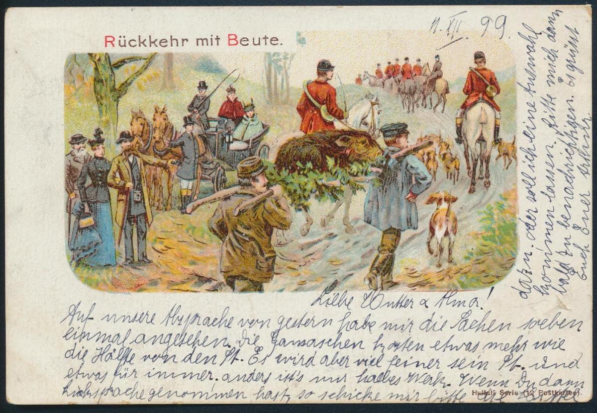 Tolle Künstler Ansichtskarte Jagd Litho Rückkehr mit Beute Köln Foche b Solingen