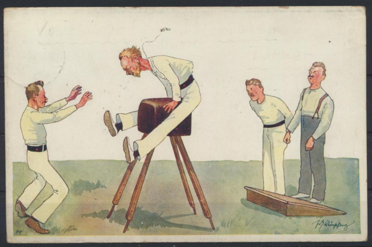 Ansichtskarte Sport Künstler Humor Karikatur  Bockspringen Leipzig Reudnitz 1912