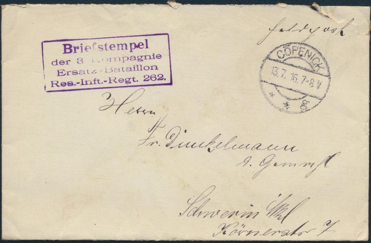 Dt. Reich Brief Feldpost mit K2 Cöpenick Bst. Res.-Inft.-Regt. 262 n. Schwerin