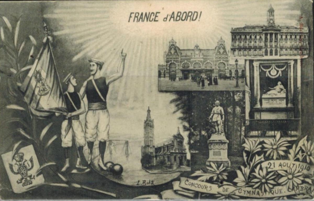 Seltene Ansichtskarte Sport Gymnastik 1910 Frankreich nach Italien mit Nachporto