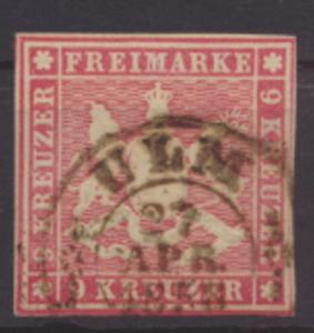 Altdeutschland Württemberg 9 gestempelt K2 Ulm 27. April 1858 Kat.-Wert 90,00