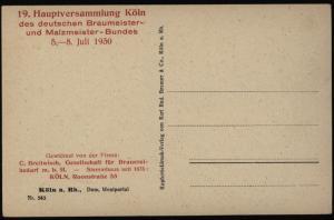 Ansichtskarte Köln roter Eindruck Braumeister - u. Malzmeister - Bundes Haupt -