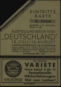 Eintrittskarte Ausstellung Berlin Kaiserdamm Deutschland Friedrichstr. Variete