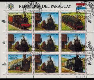 Paraguay 3994-3996 & 4025-4027 zwei Kleinbögen Eisenbahn 1986 gestempelt