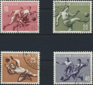 Liechtenstein 322-325  gestempelt  Fußball-Weltmeisterschaft 1954