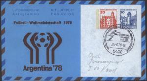 Berlin Privat Ganzsache Burgen & Schlösser Fußball m. 2 Wertstempeln Argentinien