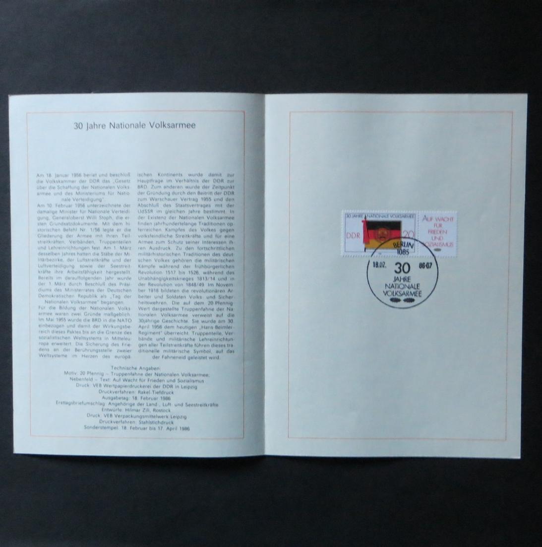 DDR Ersttagsblatt - Jahressammlung 1986 mit ESST handgestempelt Kat.-Wert 120,- 2