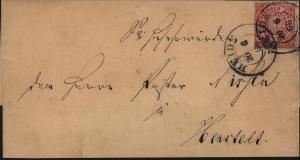 Altdeutschland Norddeutscher Bund Brief EF Nr. 4 mit K2 Heide nach Henstedt