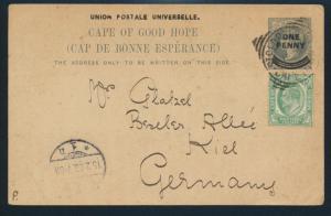 Commonwealth Kap der guten Hoffnung Ganzsache P 10 nach Kiel 1903 Queen Victoria